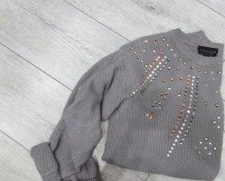 warmer grauer Pullover mit Strass Steinchen Glitter Topshop Schöner Pulli Vintage chic style