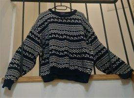 Sweter oversize ciemnoniebieski-biały