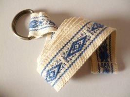 Pasek materiałowy jasnobeżowy-niebieski Tkanina z mieszanych włókien