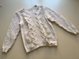 Weekday Cable Sweater natural white cotton