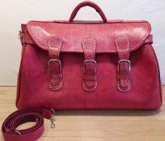 Weekender Reisetasche Umhängetasche Echt Leder Rot