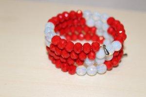 handmade Bracelet bleu clair-rouge