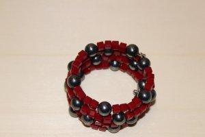 handmade Bracelet rouge foncé-gris foncé