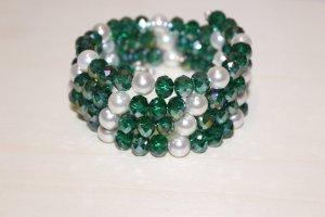 handmade Bracelet vert foncé-blanc