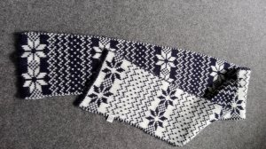 Bijou Brigitte Woolen Scarf natural white-dark blue
