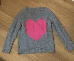 Wollen trui grijs-roze