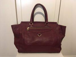 Weinrote Handtasche aus Leder von Massimo Dutti