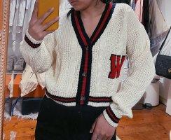 Weiß rote College Strickjacke cropped oversize von Urban Outfitters