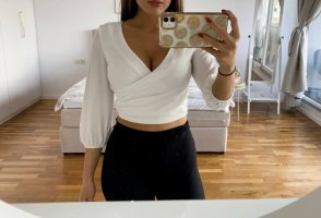 Bershka Wraparound Blouse white