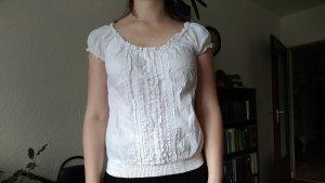 Weiße Bluse mit Rüschendetail und Gummibund, Gr. 36/38