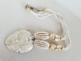 Modeschmuck Zdobiony naszyjnik jasnobeżowy-biały