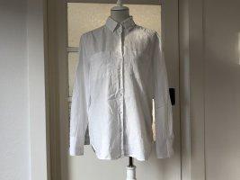 Weiße oversized Leinen-Bluse in Größe 36