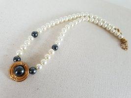 Weiße Perlen Grau Kette Halsschmuck Halskette Schmuck