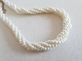 Retro Kette Collier de perles blanc-beige clair