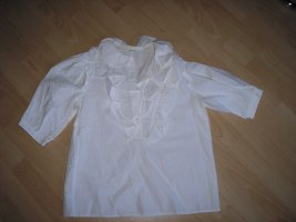 Weiße Rüschen - Bluse aus Baumwolle Gr. 34