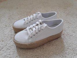 Zapatillas con tacón blanco-beige claro