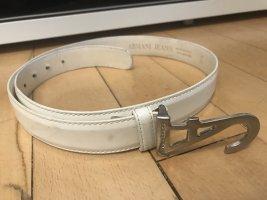Armani Jeans Cintura di pelle bianco sporco-bianco Pelle