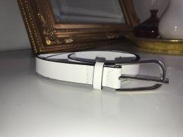 Vintage Cinturón de cuero de imitación blanco-color plata