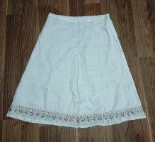 weißer Leinenrock mit Perlenstickerei NEU Gr.38