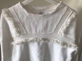 Weißer Pullover mit Fransen