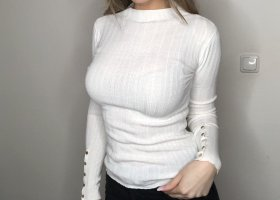 Topshop Knitted Sweater white