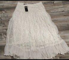 Falda de encaje blanco-blanco puro