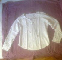 Weißes Leinenshirt mit Schnürung