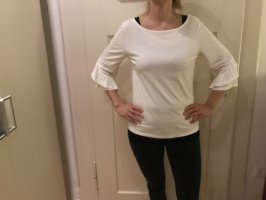 Weißes Long Sleeve / Bluse mit Fledermausärmeln
