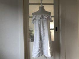 Weißes Off-Shoulder Kleid mit Volant in Größe 36