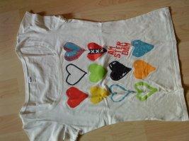 weißes Shirt mit Herzchenaufdruck M Amsterdam