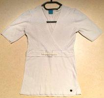 weißes Steickshirt, kurzärmlig, V-Schnitt, Gr. 36