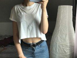 H&M T-shirt court blanc-blanc cassé