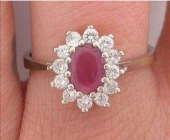 Weissgoldring 585 mit Rubin und Diamanten