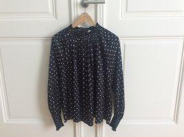 H&M Bluzka z falbankami czarny-biały Tkanina z mieszanych włókien