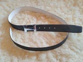 Hermès Leather Belt white-black leather