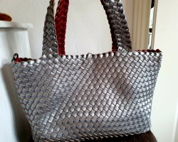 Turn Bag silver-colored-dark red