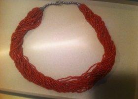 Colliers ras du cou rouge brique tissu mixte