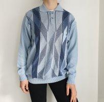 Westbury L blau Oversize Pullover Hoodie Pulli Sweater Top Oberteil Muster True Vintage