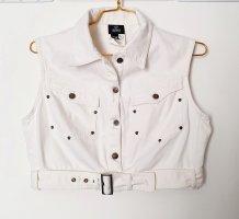 Versace Jeans Couture Chaleco de motorista blanco-color plata Algodón