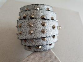 Bracelet en cuir argenté-blanc