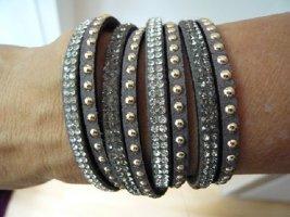 Wickelarmband, Marke: heine, Polyurethan, taupe, Nieten/Glassteine, neuwertig