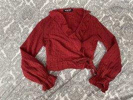 Fashion Union Wikkelblouse rood-donkerrood