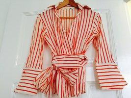 Kopertowa bluzka pomarańczowy-biały Bawełna