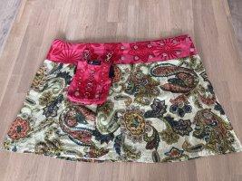 Zand Amsterdam Wraparound Skirt lime yellow-raspberry-red cotton