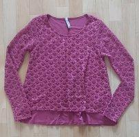 Wie NEU! Damen T-Shirt Bluse Rosa XS 34 Spitze luftig