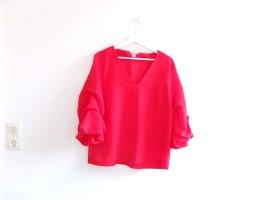 wie neu H&M Bluse rot Gr. 40 M geraffte Ärmel V-Ausschnitt