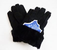 Fur Gloves multicolored suede
