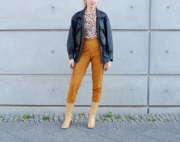 Pantalon en cuir orange foncé-cognac daim