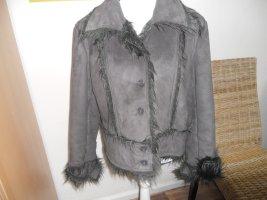 Fake Fur Jacket anthracite-dark brown mixture fibre