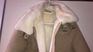 H&M Basic Veste en fourrure beige-blanc cassé